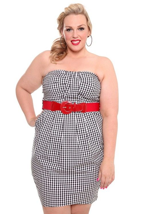 Lucy Gingham Dress with Faux Patent Leathr Red Belt