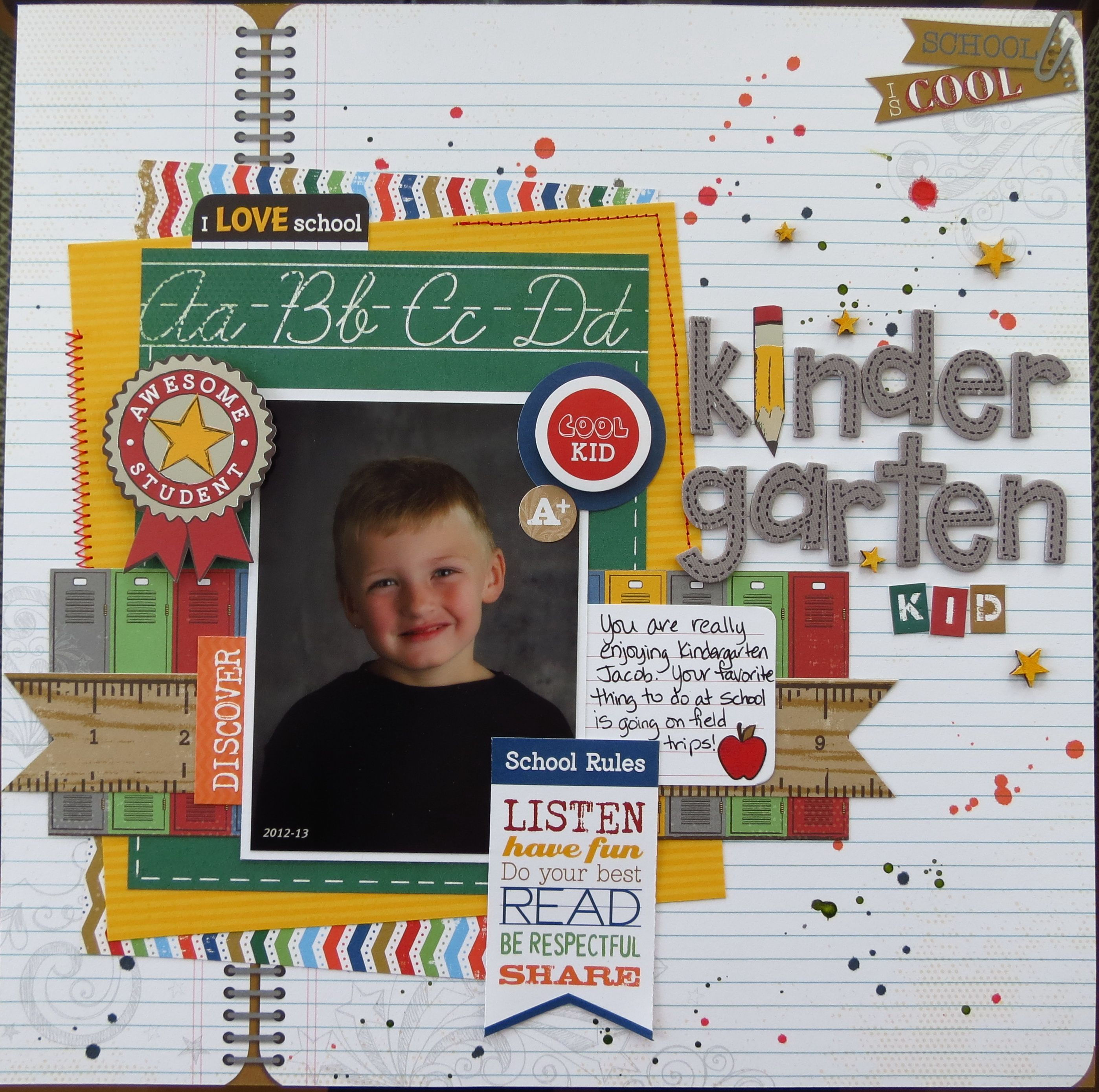 Kindergarten School Scrapbook Layouts