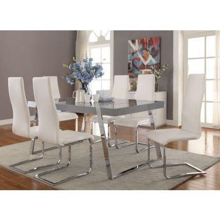 Giovanni High Gloss Grey Dining Room Set  Decor  Pinterest Alluring Grey Dining Room Sets Inspiration