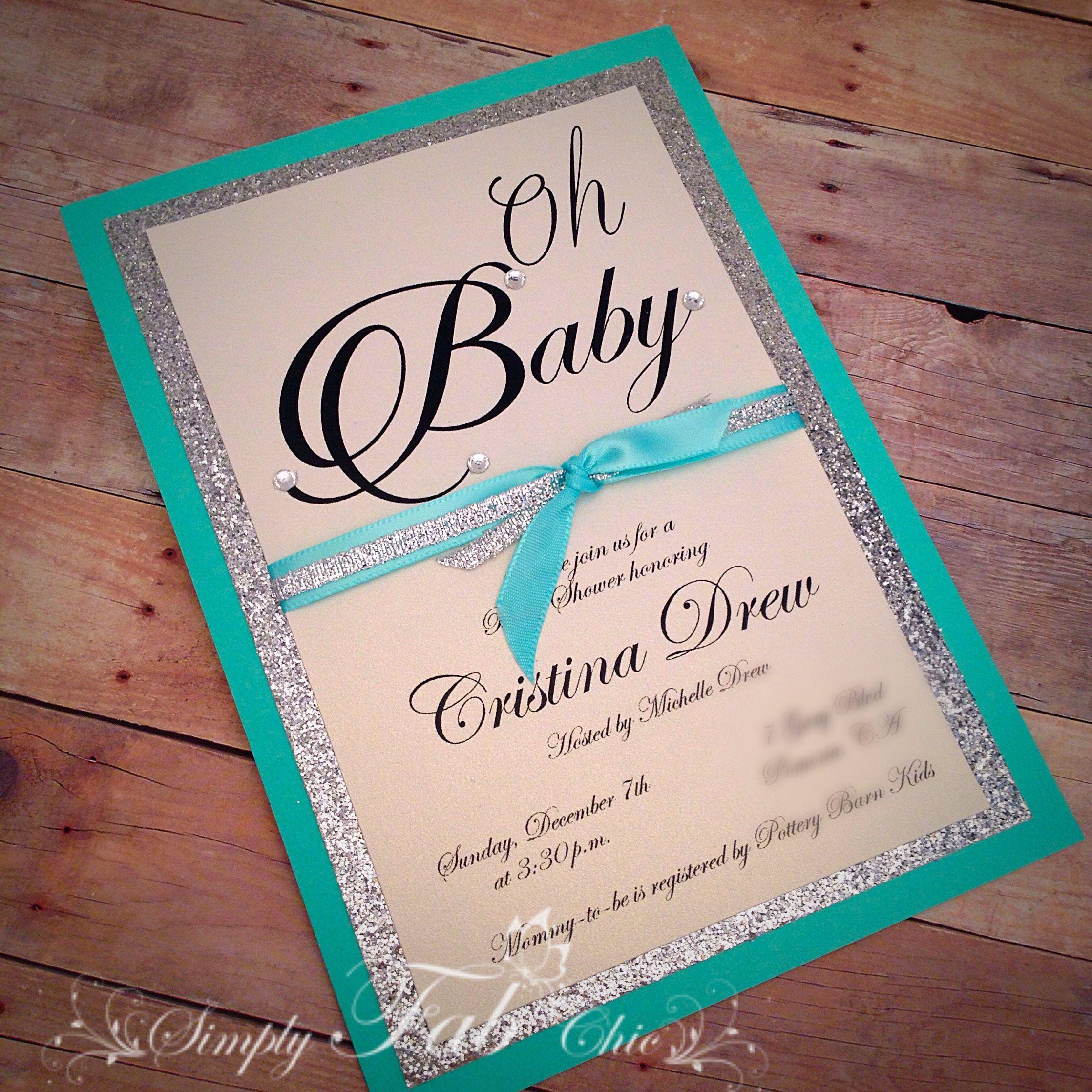 Custom Handmade Tiffany Turquoise & Silver Glitter Baby Shower