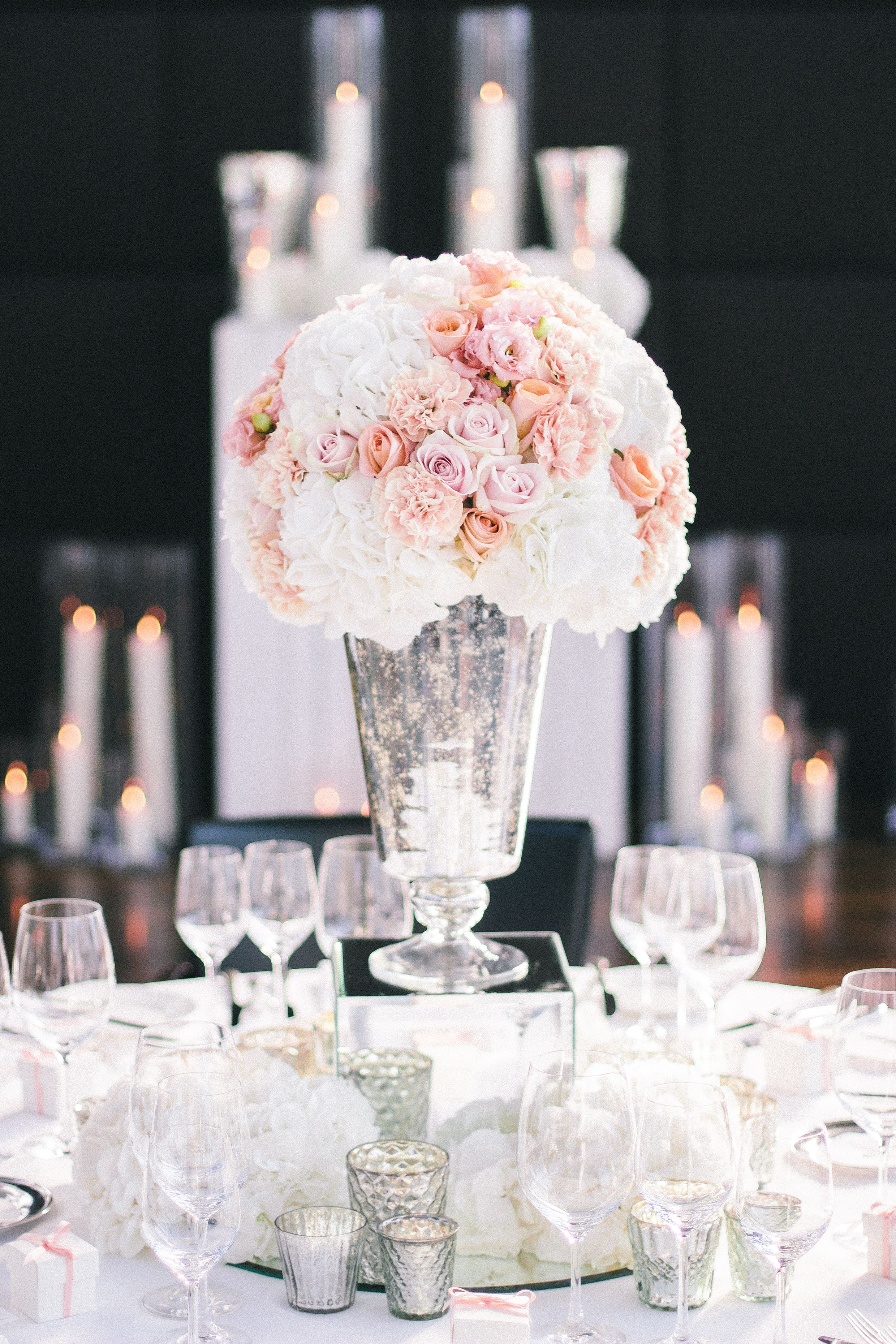 modern floral wedding design in shades of blush pink apricot