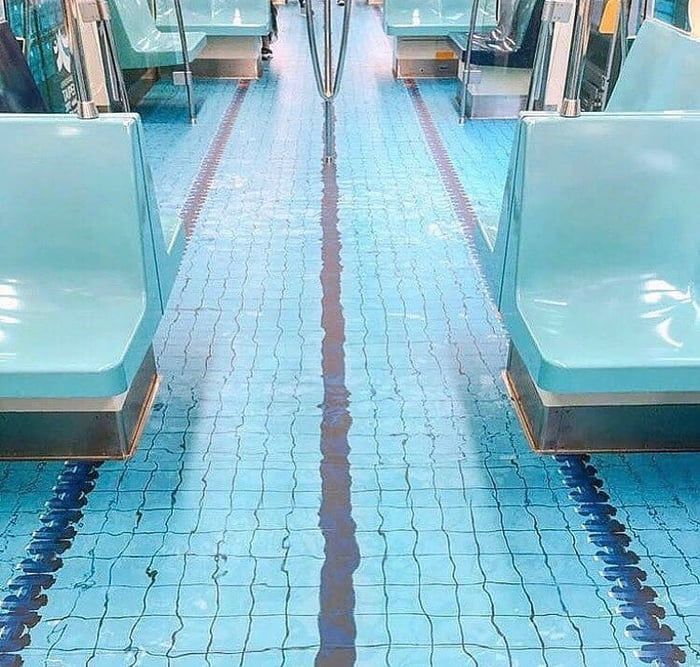 Taipei's subway looking like a realistic swimming pool in