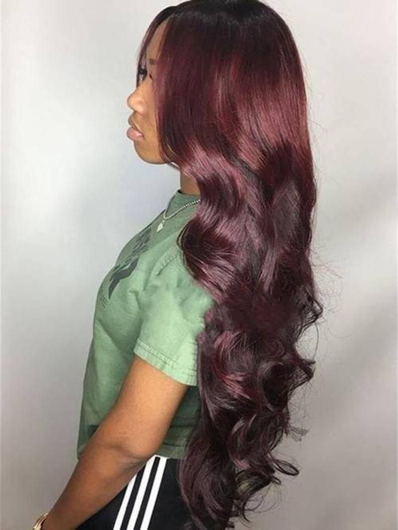 13x4 Frontal 99J hair color Body wave Custom hand