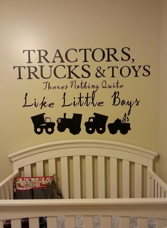 Best Baby Boy Nursery Wall Decal Vinyl Decal Tractor Construction Dump Truck Boys Nursery Playroom 400 x 300