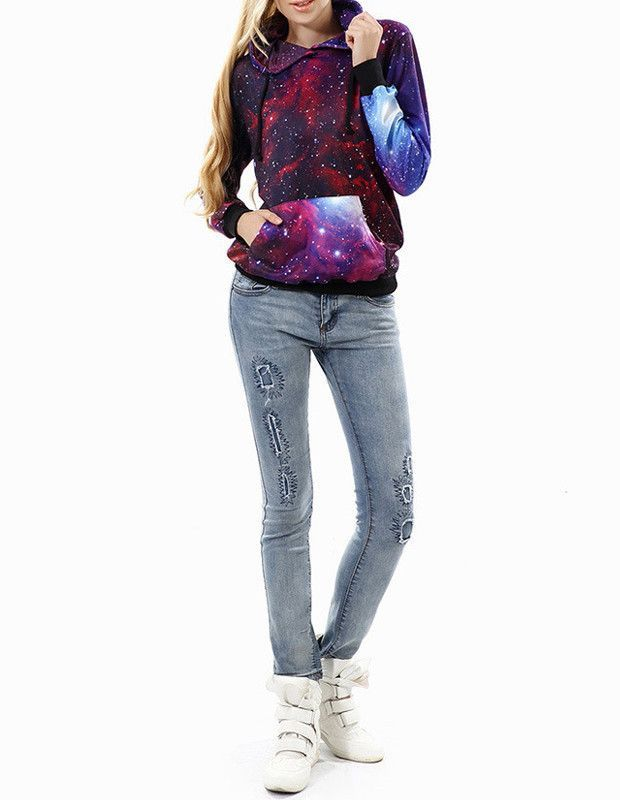 Product Code: MST0120090 Package included: a top Gender: Female Age Group: Adult Color:red Pattern: Purple Galaxy Material: Polyester Fiber Latest fashionable personality cool 3D prints sweatshirts an