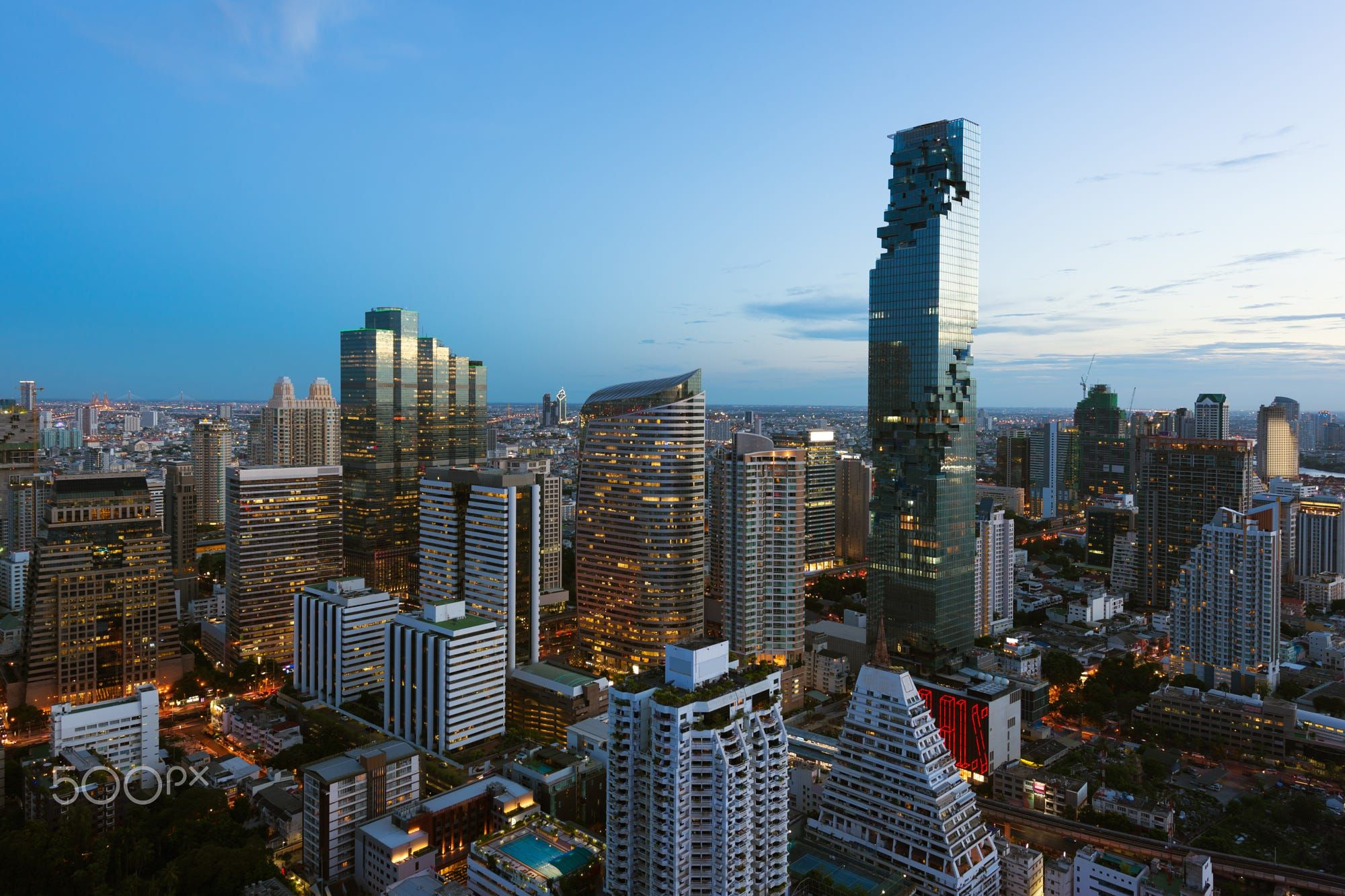 Top view of Bangkok modern building in Business district at