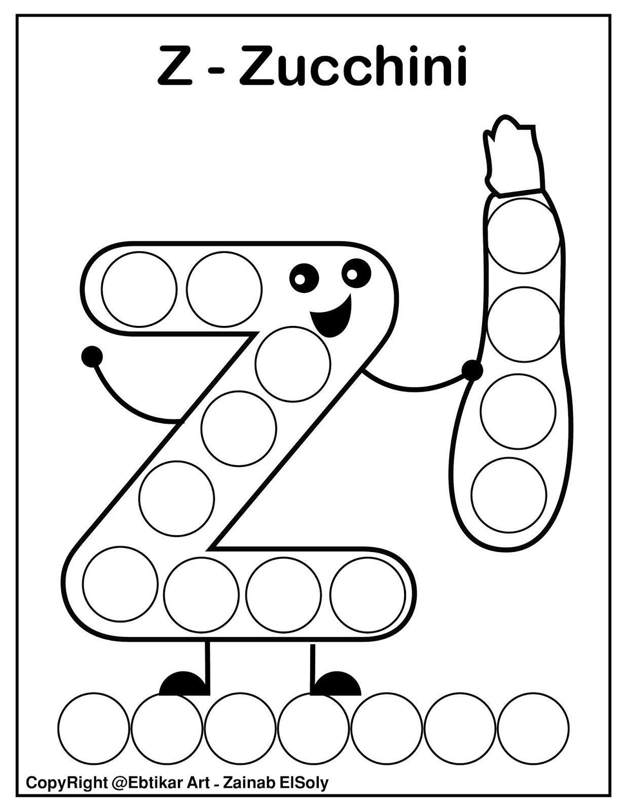 Set Of Abc Dot Marker Coloring Pages In