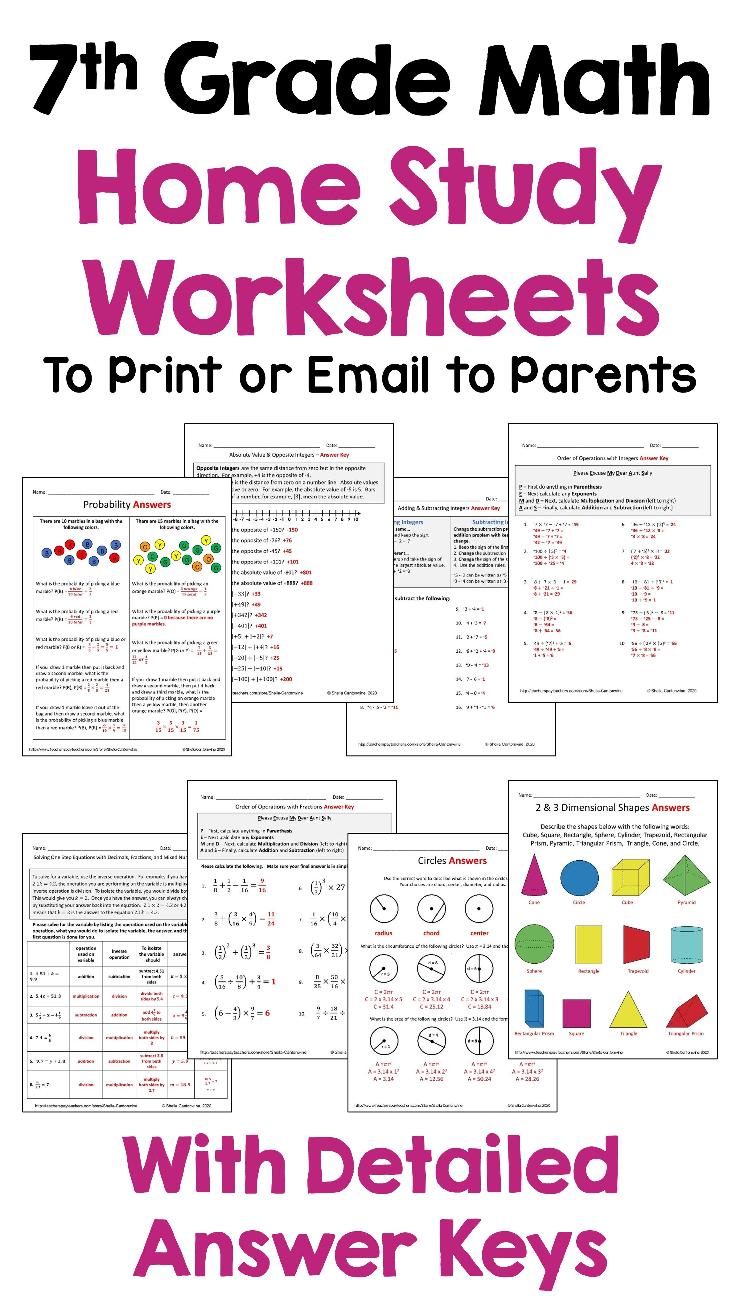7th Grade Math Home Study Worksheets For Distance Learning 7th Grade Math Teaching Middle School Maths Math Lesson Plans [ 4200 x 2400 Pixel ]