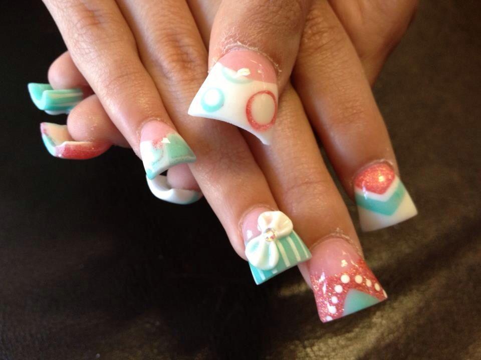 3D bow acrylic nails, nail art , duck feet nails, flare tip nails ...