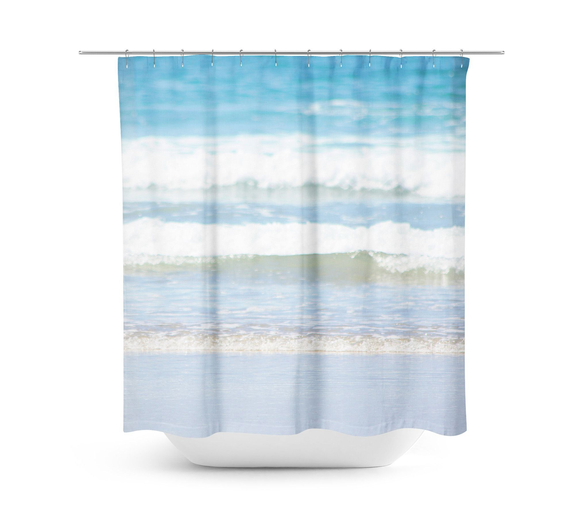 Rolling Waves 4 Shower Curtain Blue Shower Curtains Blue