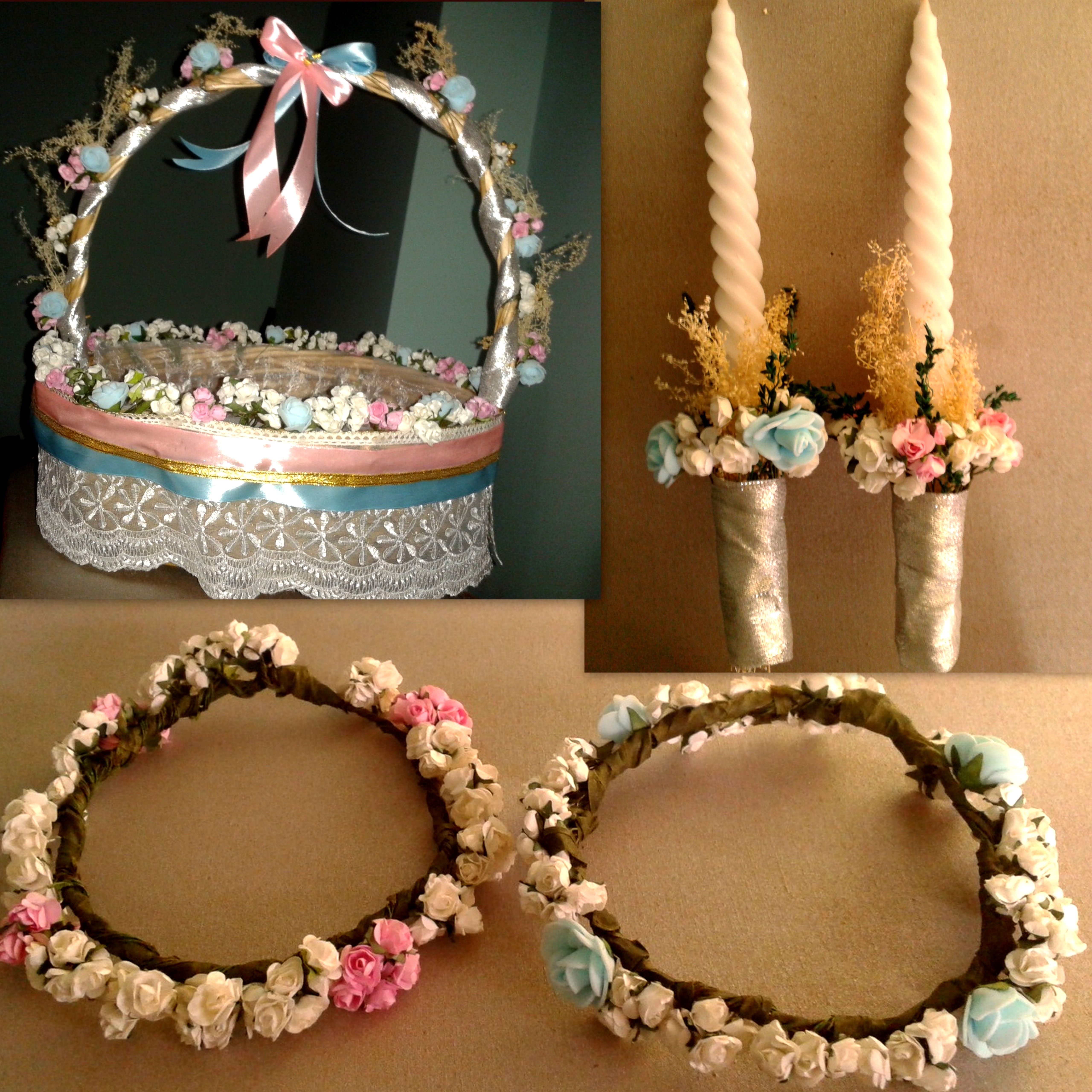 Decorated Cane Basket Candles And Crown For Baptism Cane