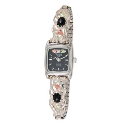 Ladies 39 black hills gold onyx expansion watch with black oval dial zales bling bling for Watches zales