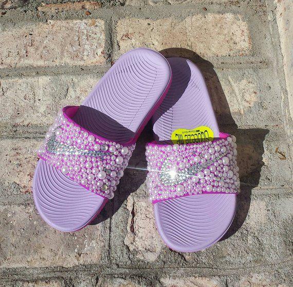 18ca09ec25b Pink Youth Bling Nike Slides - Bedazzled - Girls Custom Nike Kawa Slides -  Slides with Pearls - Embe
