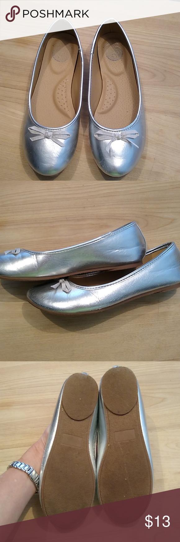 girls silver ballet flats. Worn once