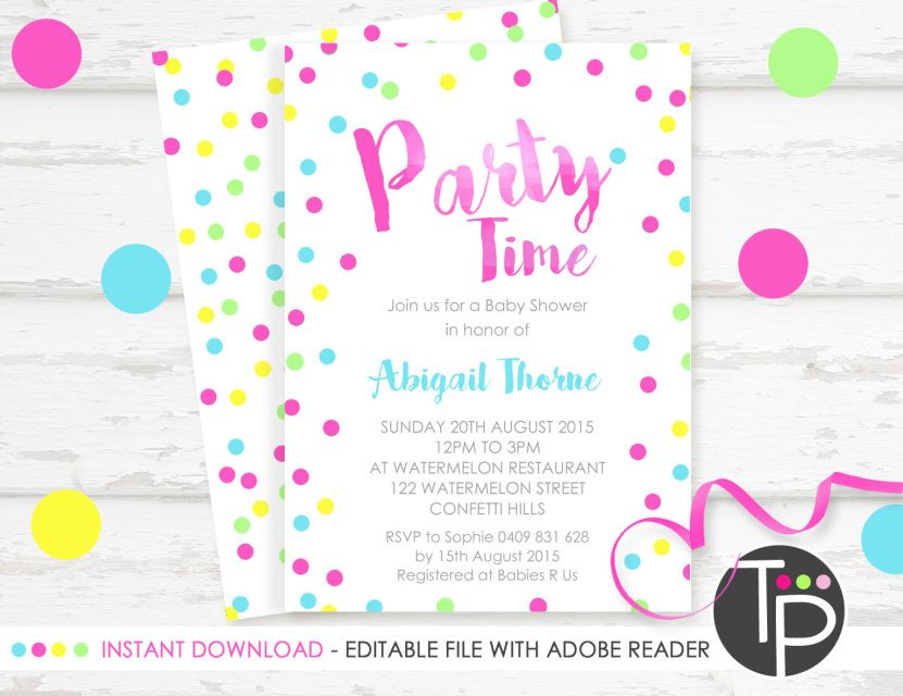 Instant download invitations, DIY invitations | Kids party ...