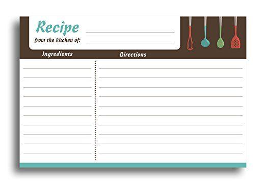 Home Advantage Modern Kitchen Recipe Card Set 50 Double Sided