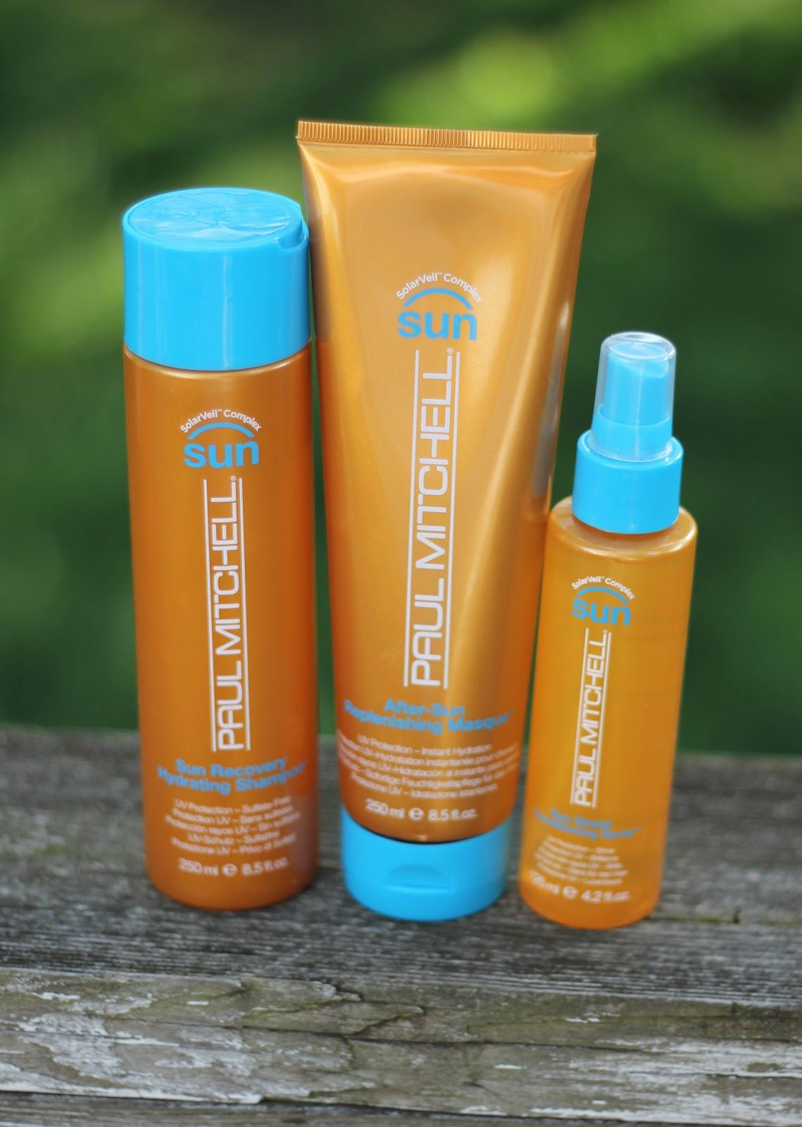 Paul Mitchell After Sun Care Shampoo, Replenshing Masque, and Conditioning Spray.  This stuff is amazing for the summertime!