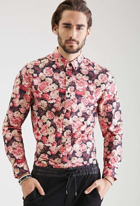 WAWAYA Men Slim Buttons Print Party Long Sleeve Basic Dress Shirts