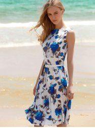 Women's Vintage Sleeveless Floral Print Belted Dress (BLUE,M) | Sammydress.com Mobile