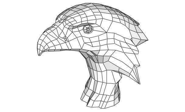 Eagle Bust Free Papercraft Template Download