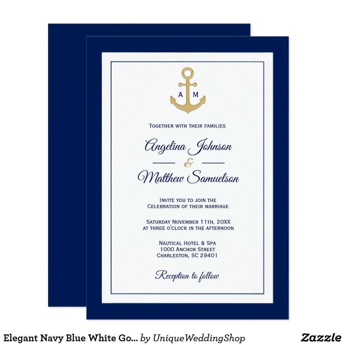 Elegant Nautical Wedding Invitations: Elegant Navy Blue White Gold Nautical Wedding Invitation