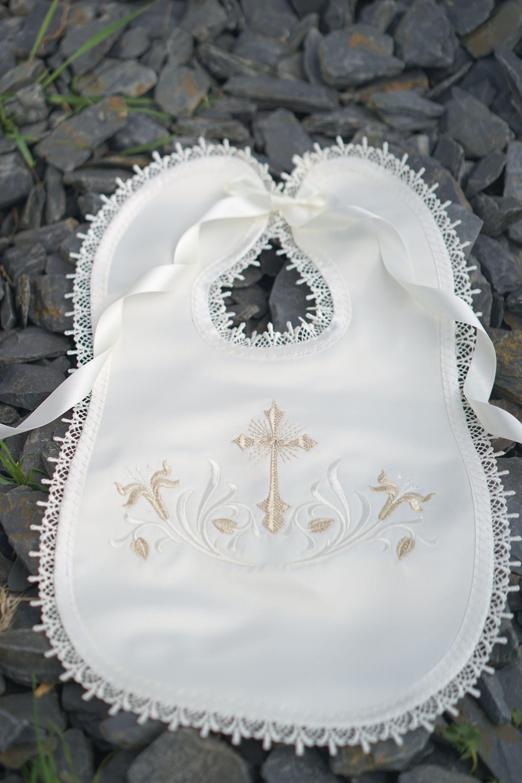 BAPTISM bib CROIX and customizable