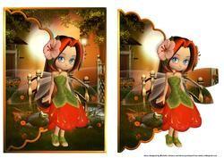 Cute Cookie Orange Blossom In Zonsondergang Gegratineerde Envelop Card