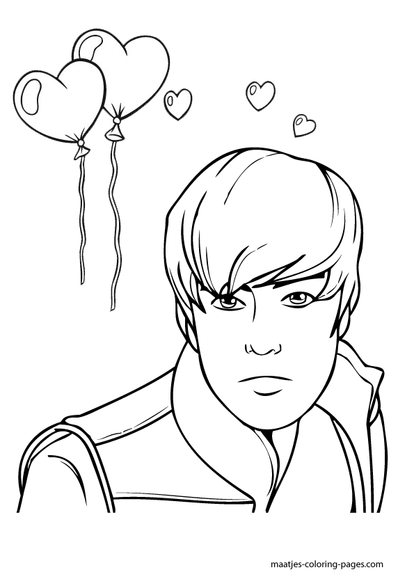 Valentine 39 s day coloring pages justin bieber valentines for Free justin bieber coloring pages