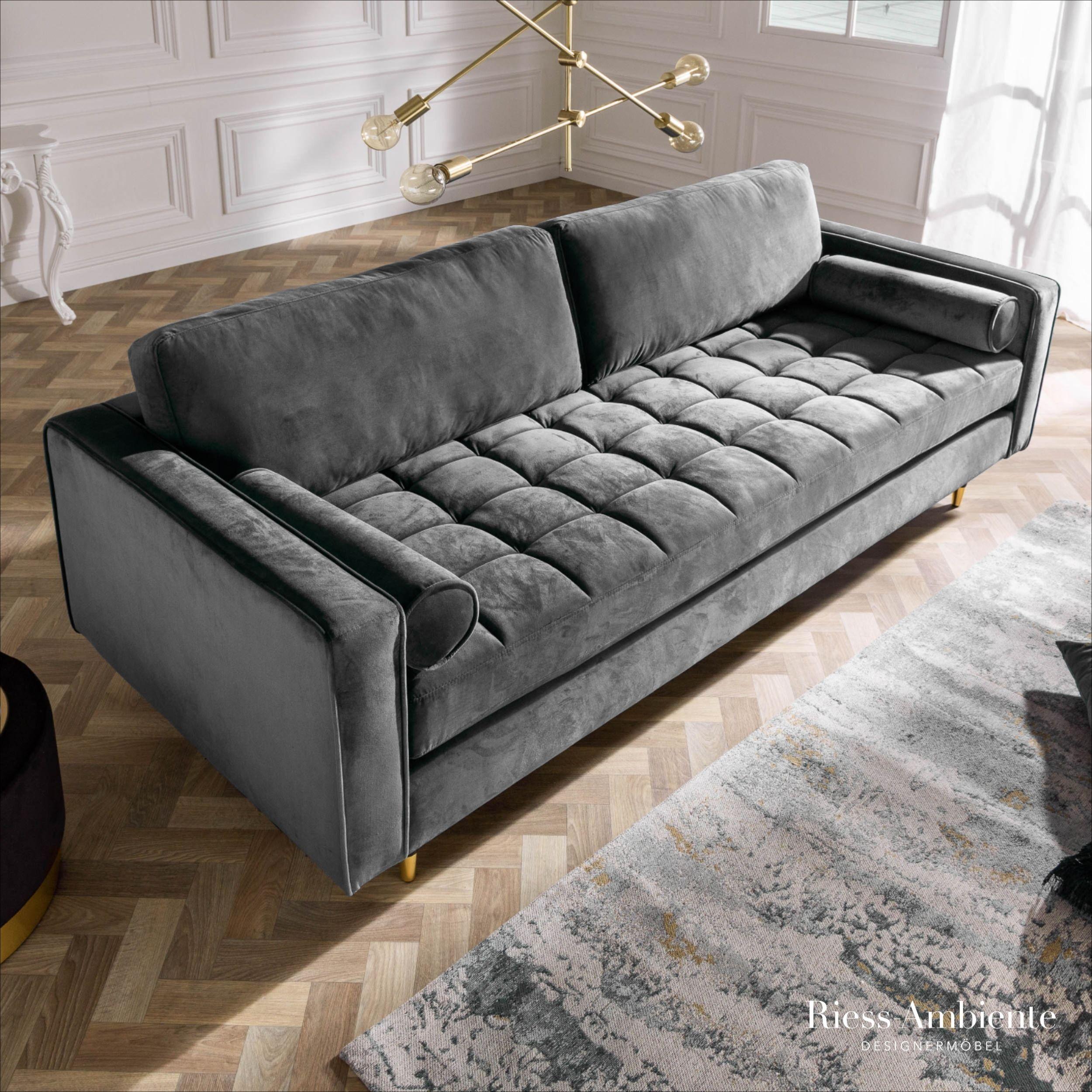 Elegantes Design 3er Sofa Cozy Velvet 225cm Grau Samt Federkern Riess Ambiente De In 2020 3er Sofa Sofa Grosses Sofa