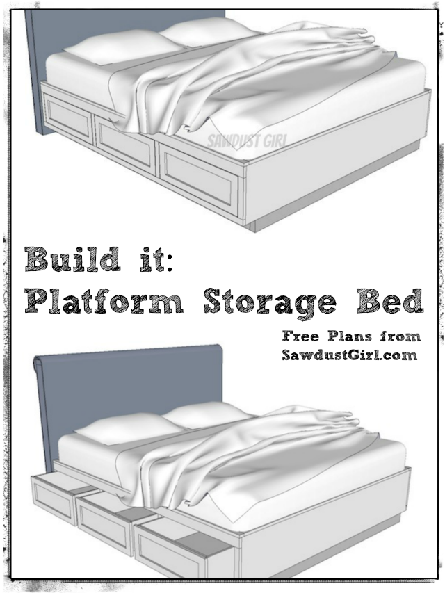 Cal King Platform Storage Bed - Free Plans | Feelin\' Crafty ...