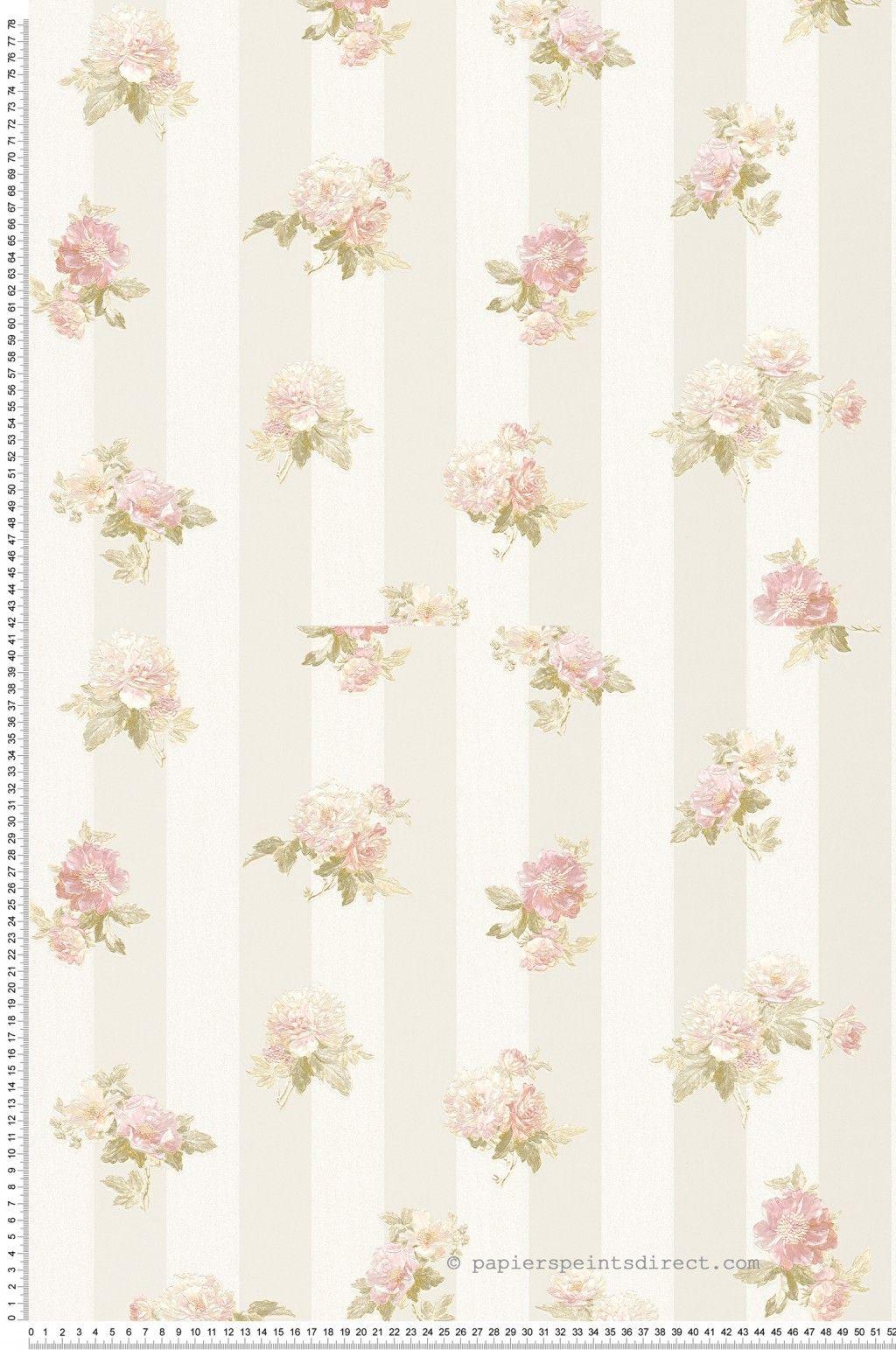 Bouquet beige - Papier peint Romantica 3 d\'AS Création   Beige ...