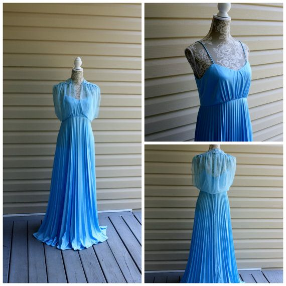 70s Goddess Evening Dress Baby Blue Vintage by Romantiquetouch