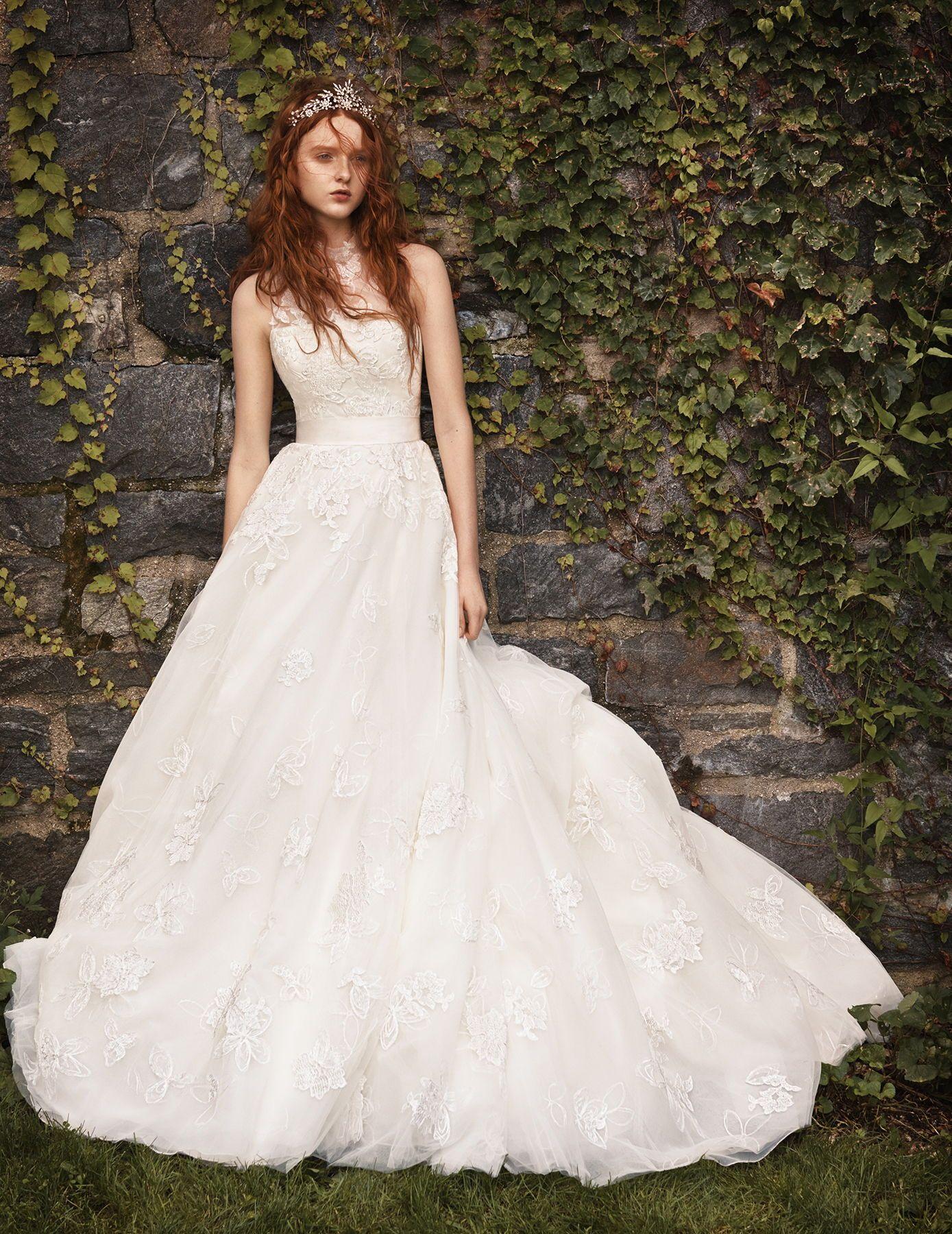 White By Vera Wang Illusion Floral Wedding Dress David S Bridal Wedding Dresses Vera Wang Designer Wedding Dresses Vera Wang Floral Wedding Dress [ 1800 x 1389 Pixel ]