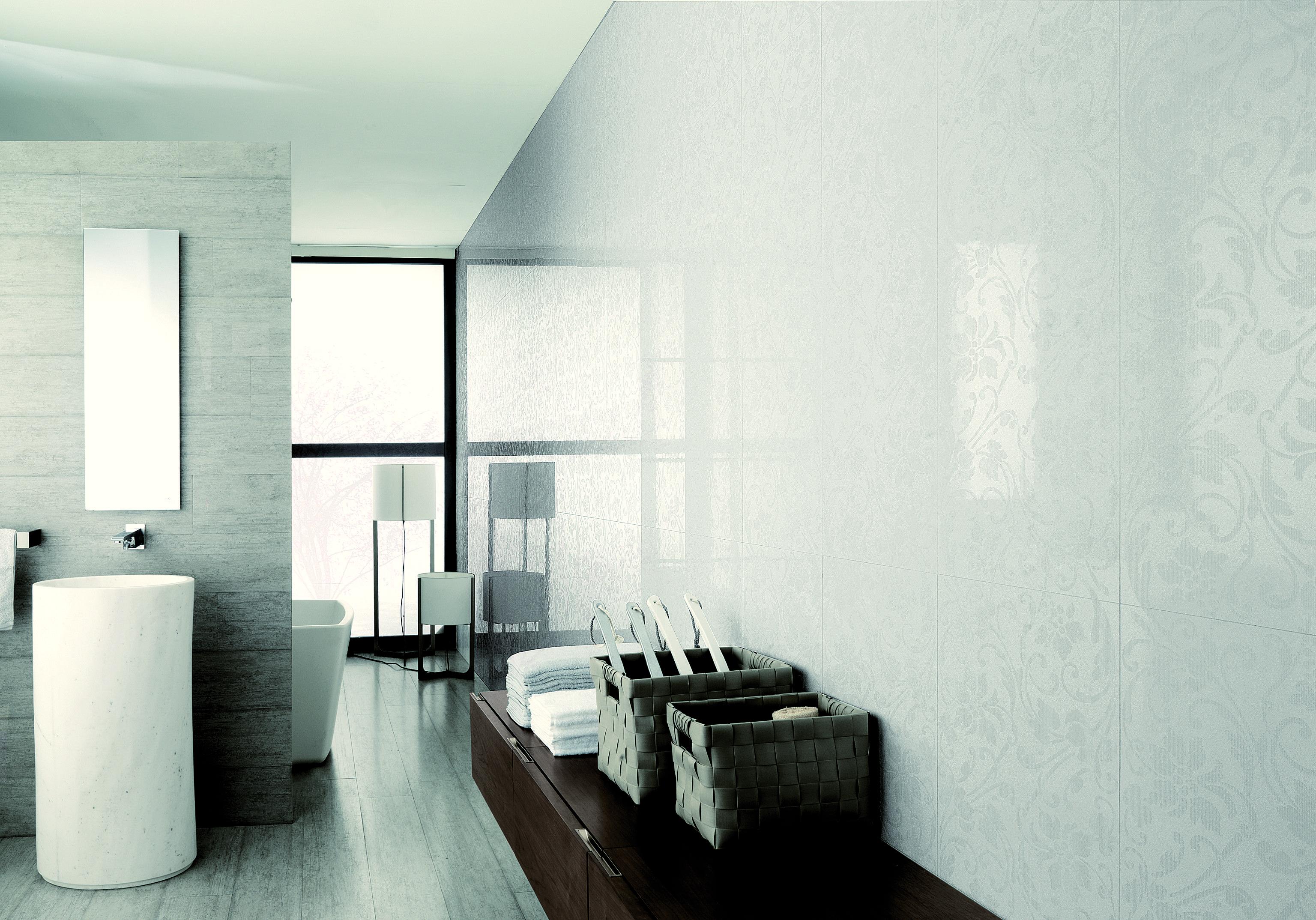 Venis \'Deco Crystal White\' Tile | Etched Intricate Floral Design ...
