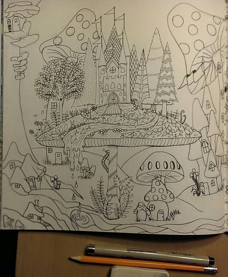 Johanna Basford Enchanted Forest Mushroom Castle Adult Coloring I Added All The Additional Houses