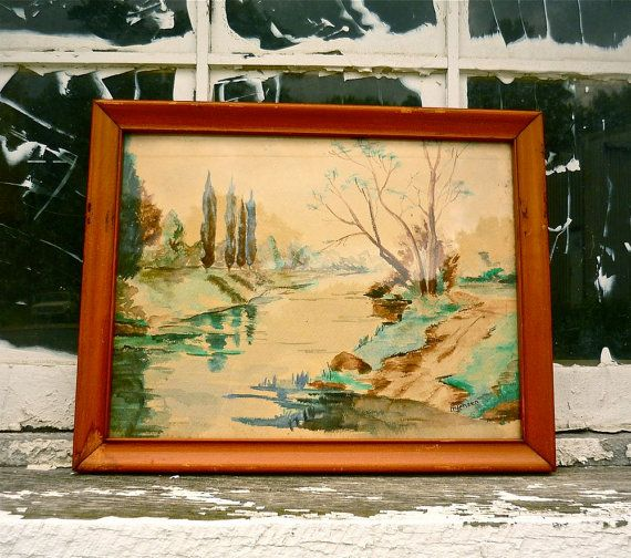 vintage landscape watercolor painting by WhiteBarnVintage on Etsy, $18.00