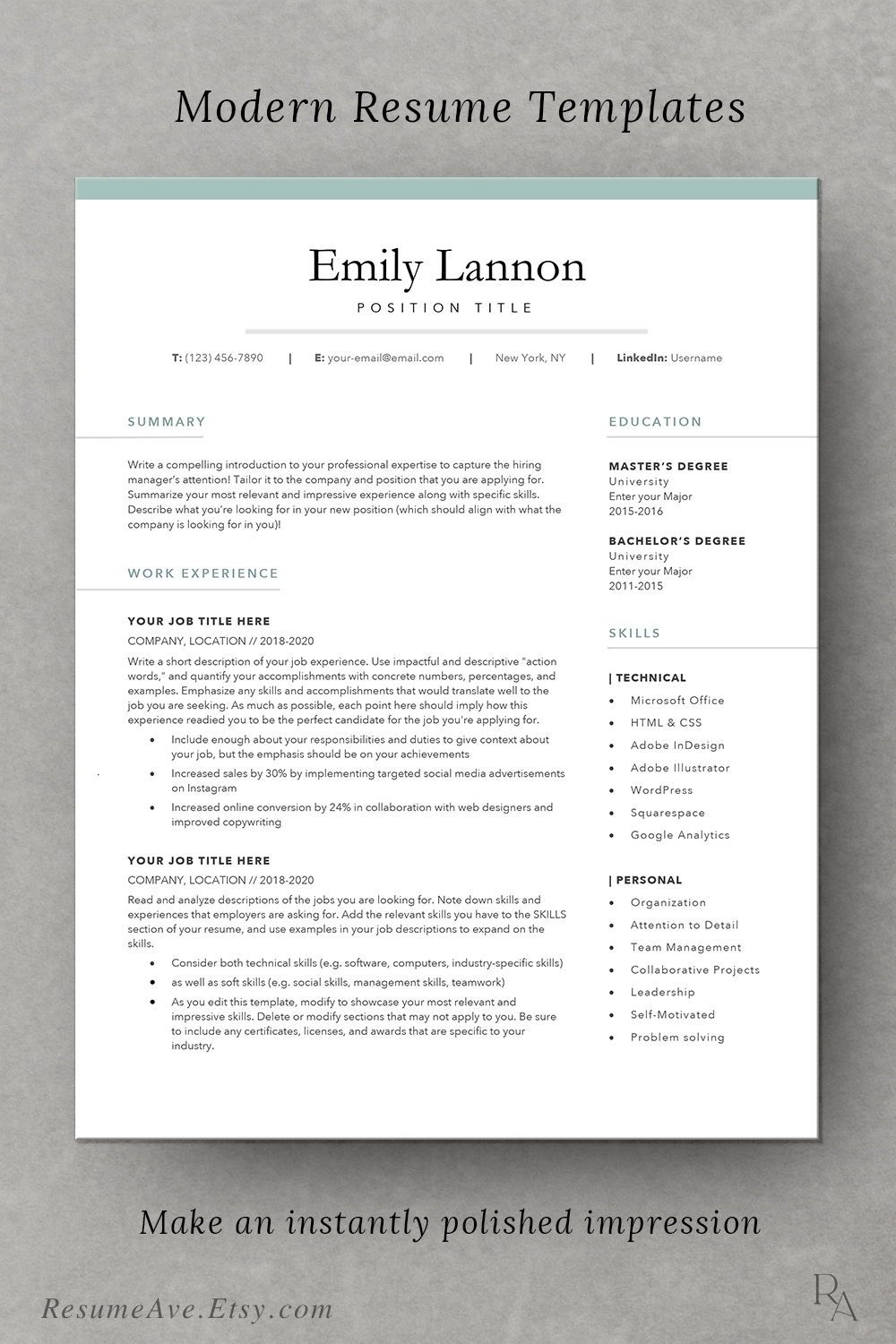 Feminine Resume Template Word With Green Border Simple Design Etsy Resume Template Word Resume Template Teacher Resume Template