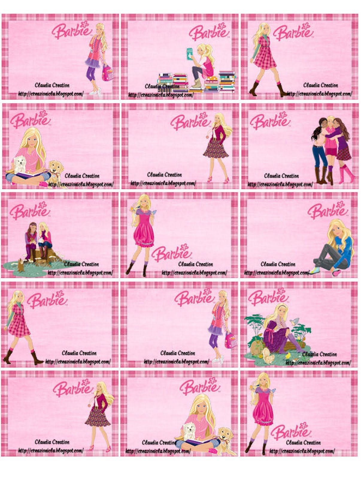 Barbie Labels For Kids