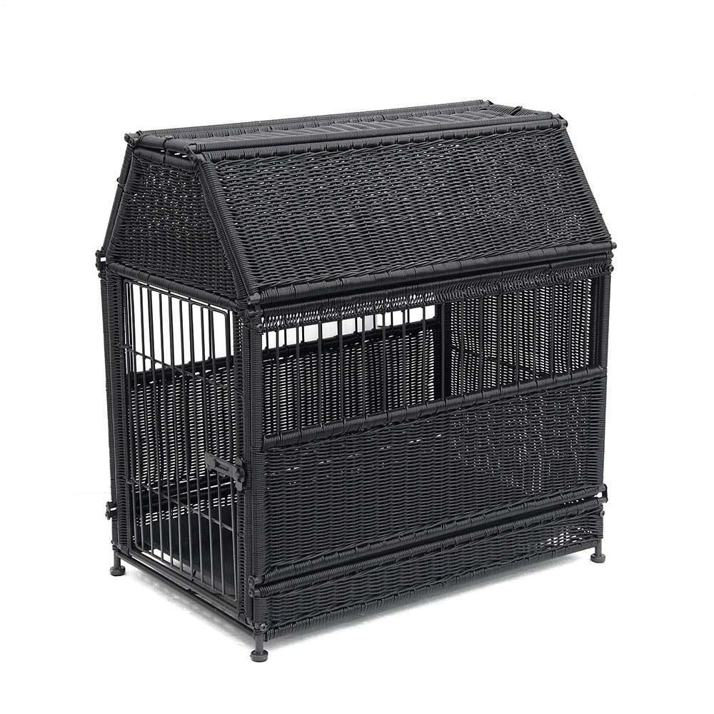 Large Black Roof Top Wicker Dog House