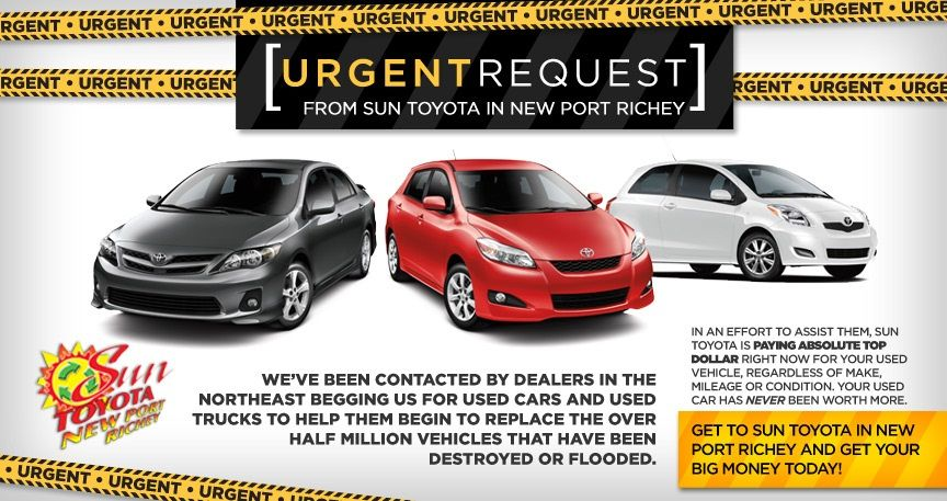 Attention Drivers In The Greater Tampa Clearwater St Petersburg And Holiday Area Sun Toyota Gm And Long Islan Car Dealership Port Richey New Port Richey