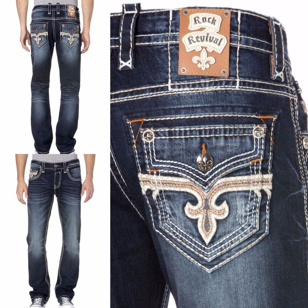 Rock Revival Straight Leg Jeans Buckle Nwt Josef J200 Faux Flap Jean 36 X 34 Manner Mode Mode Mann