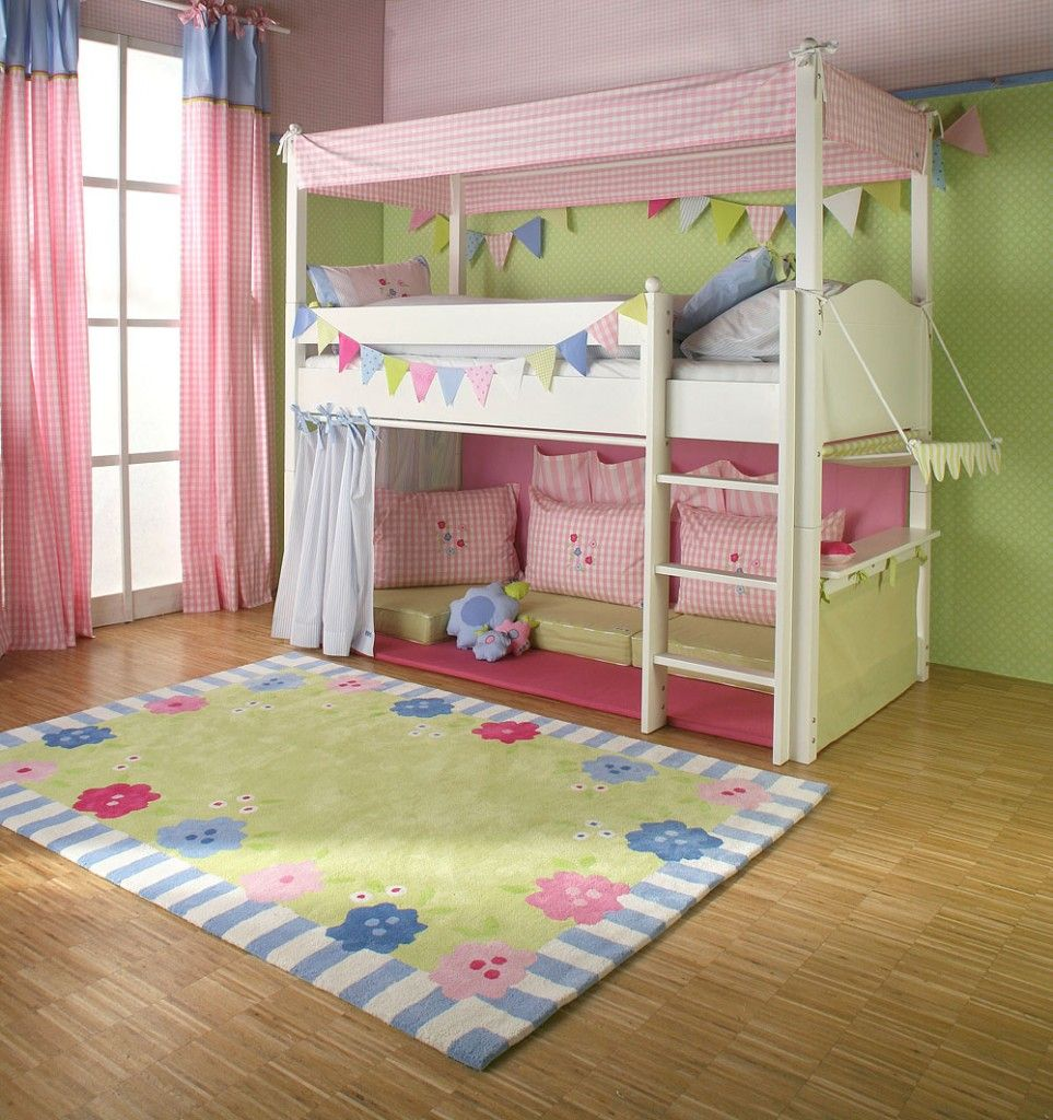 girls bed with fort underneath and it s not too high a climb