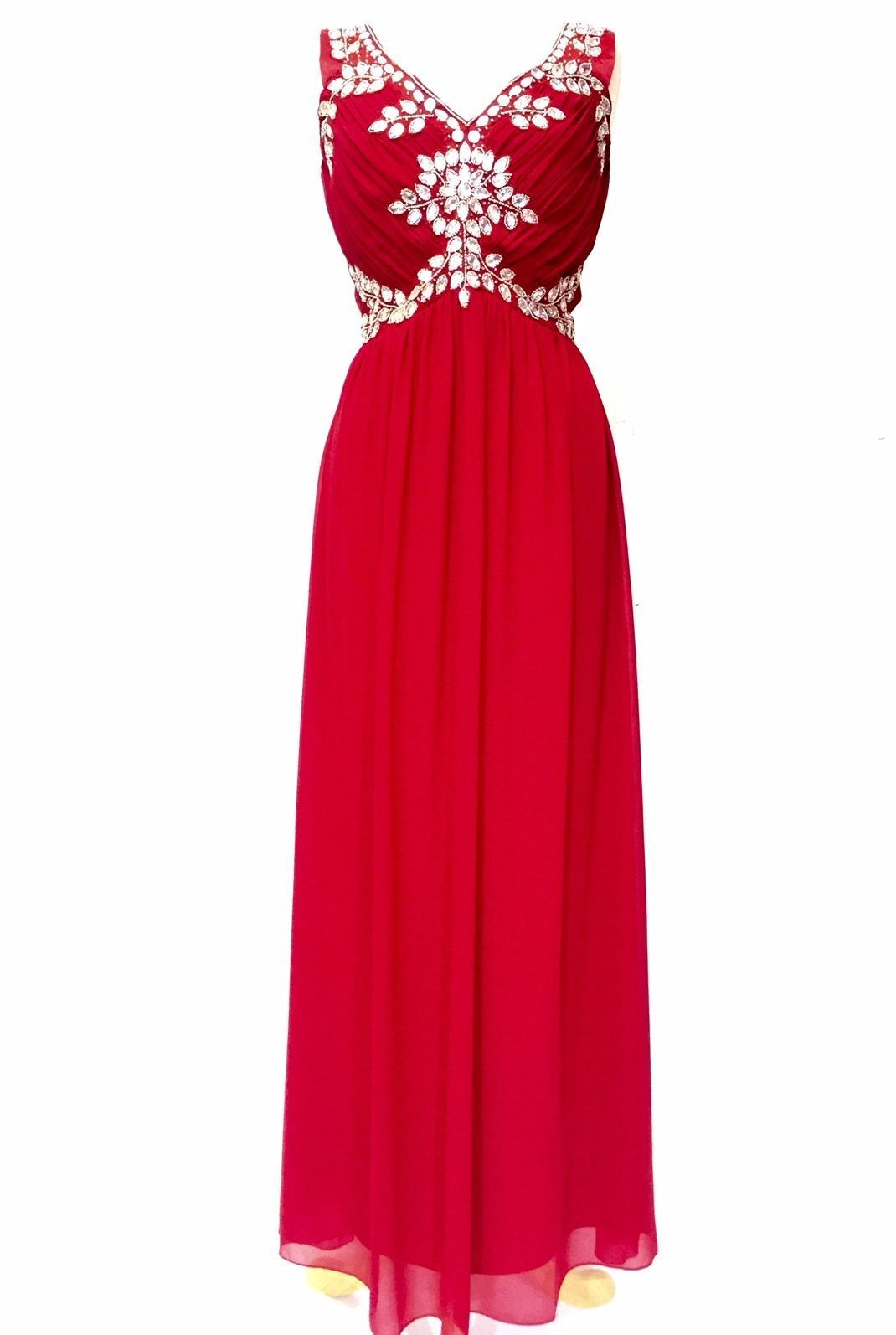 Red maxi dress gem sequin embellished bridesmaid party prom gown