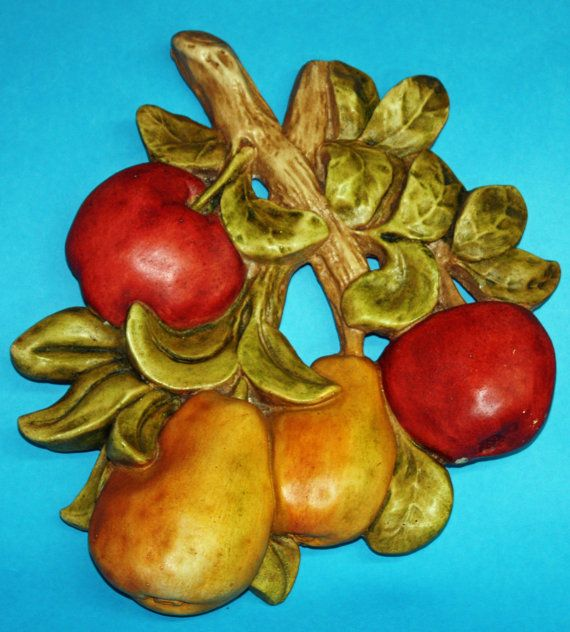 Large Chalkware Wall Plaque  Pears Apples 50s by BuyBackYesterday, $32.50
