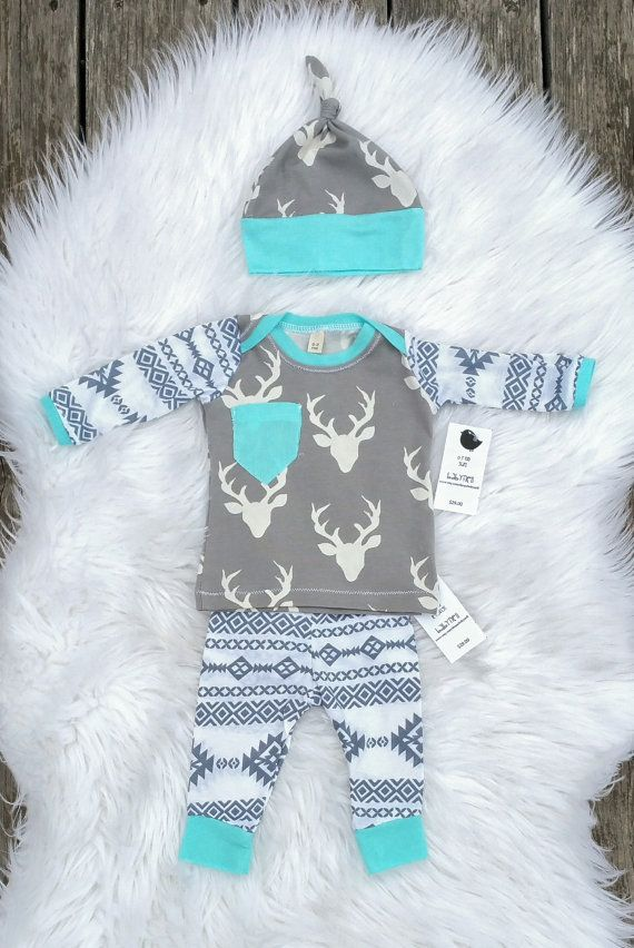 Last One Baby Boy Outfit With Hat Set Tribal Antler Deer Gray