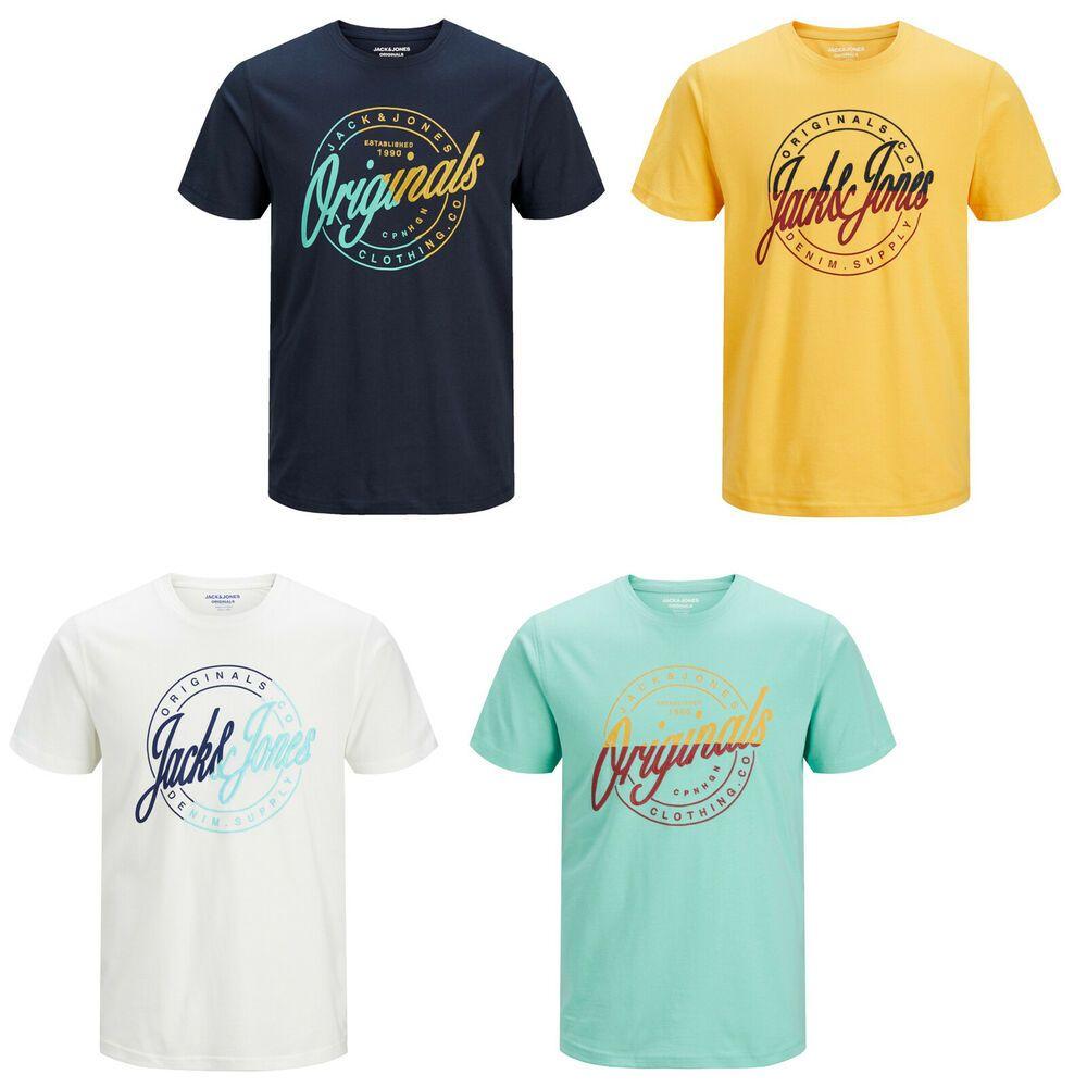 Jack /& Jones Originals T-Shirt Mens Logo Print Summer Short Sleeve Tee JORRival