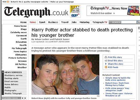 Robert Knox Jpg 455 324 Harry Potter Actors Hi Brother Tv News