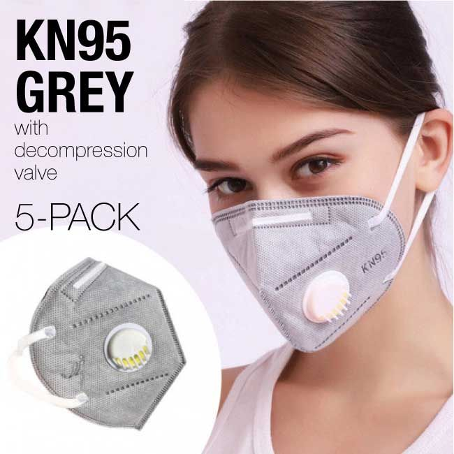 Photo of ON SALE ~ KN95 PROTECTIVE RESPIRATOR MASK  – GREY WITH DECOMPRESSION VALVE AND ACTIVATED CARBON FILTER FILTERS AIR 95% (SHIPS IMMEDIATELY)