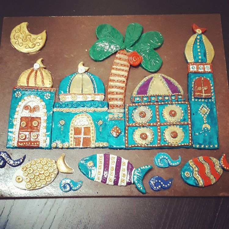 اخر اعمالي بعد انقطاع طويل عن عملي بالصلصال خزفي خزفيات خزف صلصال صلصال حراري صلصالي جدارية جدار Moroccan Art Arts And Crafts For Kids Clay Art