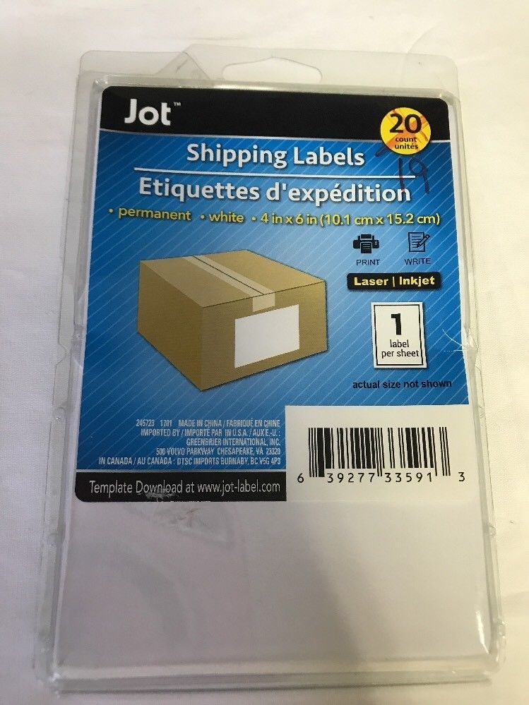 19 Count Jot Shipping Labels 4in X 6in eBay Mommysshope on ebay